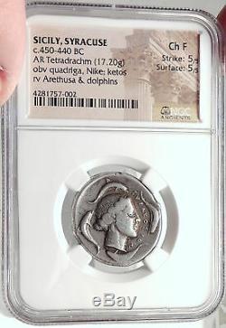 Syracuse Sicile 2ème Démocratie 450bc Rare R1 Pièce De Monnaie En Argent Tétradrachme Ngc I68726