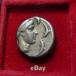 Syracuse, Sicile. Ar Tetradrachm Arethousa Dauphins, Aurige 430 Av. Vf
