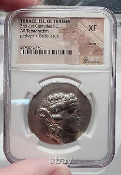 Thasos Thrace 148bc Dionysus Hercules Argent Grec Tetradrachm Coin Ngc I60124