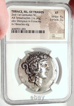 Thasos Thrace 148bc Dionysus Hercules Argent Grec Tetradrachme Pièce Ngc I68167