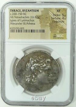 Thrace Byzance C. 200-150bc Lysimachus Ar Tetradrachm (16.82g) Ngc Xf Style Raffiné