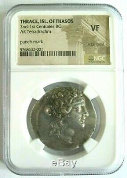 Thrace Île De Thasos Tétradrachme D'argent 2e 1er Siècles Avant Jc Dionysos / Heracles