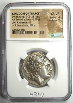 Thrace Lysimaque Alexander Ar Tetradrachm Coin 305-281 Bc Ngc Choix Vf