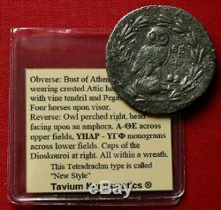Véritable Rare Grec Ancien Monnaie 150bc Nouveau Style Tétradrachme D'argent Athena Owl